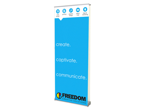 double sided banner stand at freedom creative solutions