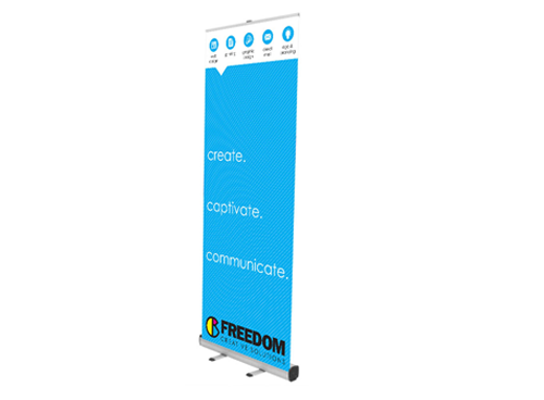 economy banner stand at freedom creative solutions
