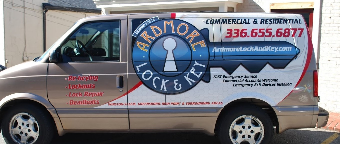 Partial Wrap cut vinyl decal for Astro Van owned by Ardmore Lock & Key at Freedom Creative Solutions Headquarters.