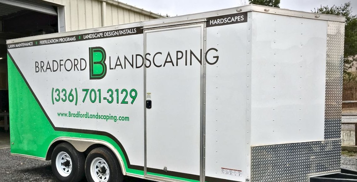 bradford_landscaping_lawn_maintenance_trailer_side_view_vehicle_wrap