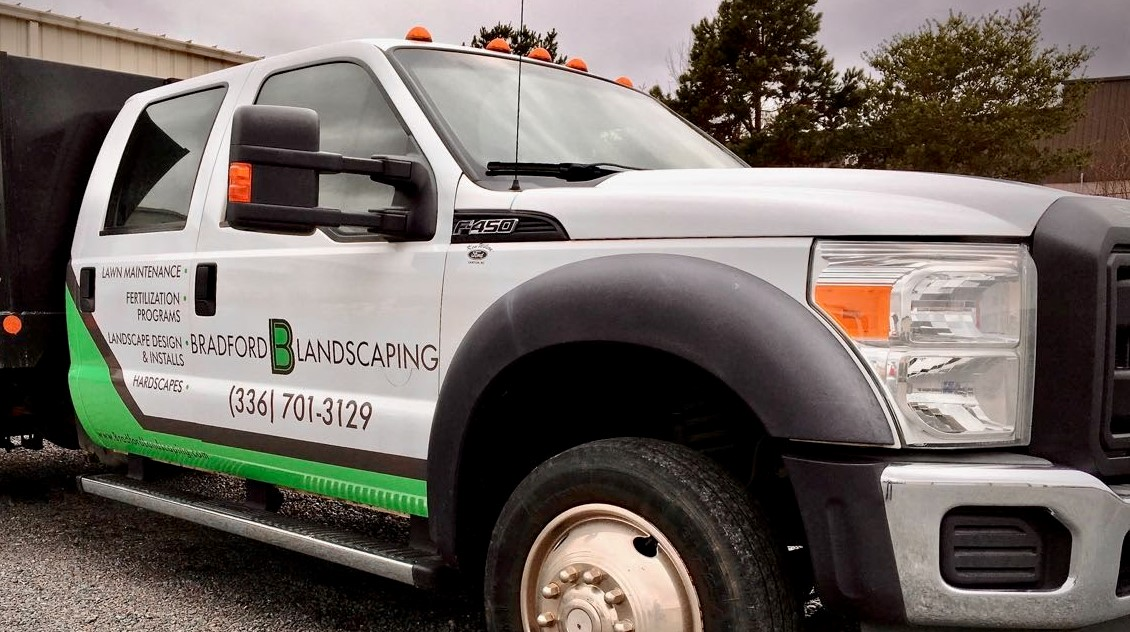 bradford_landscaping_lawn_maintenance_truck_front_left_view_vehicle_wrap