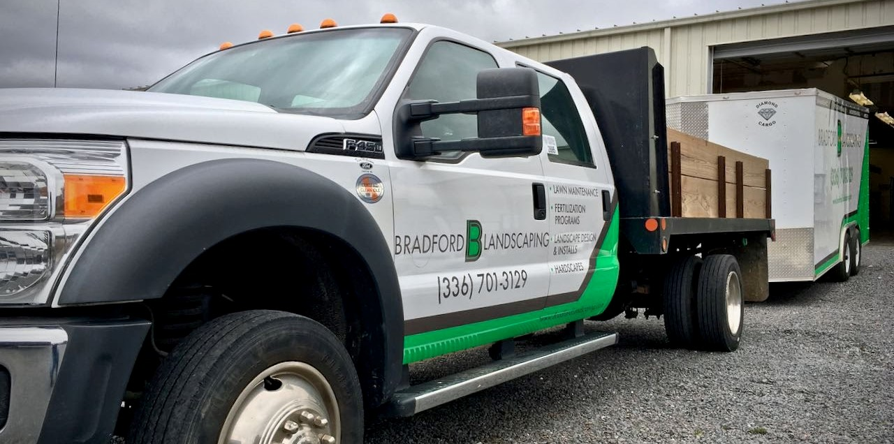 bradford_landscaping_lawn_maintenance_truck_front_right_angle_view_vehicle_wrap