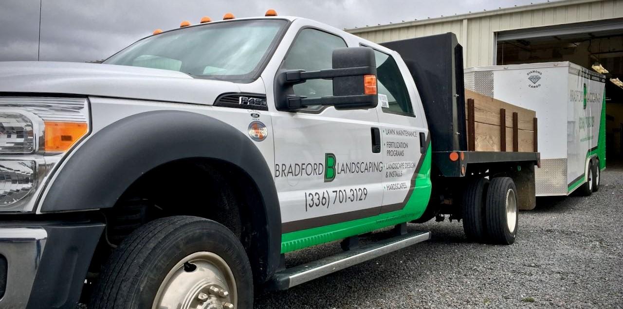 bradford landscaping lawn maintenance truck wrap