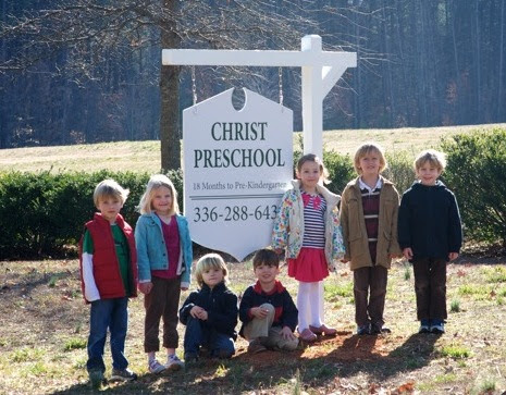 christ preschool hanging sign