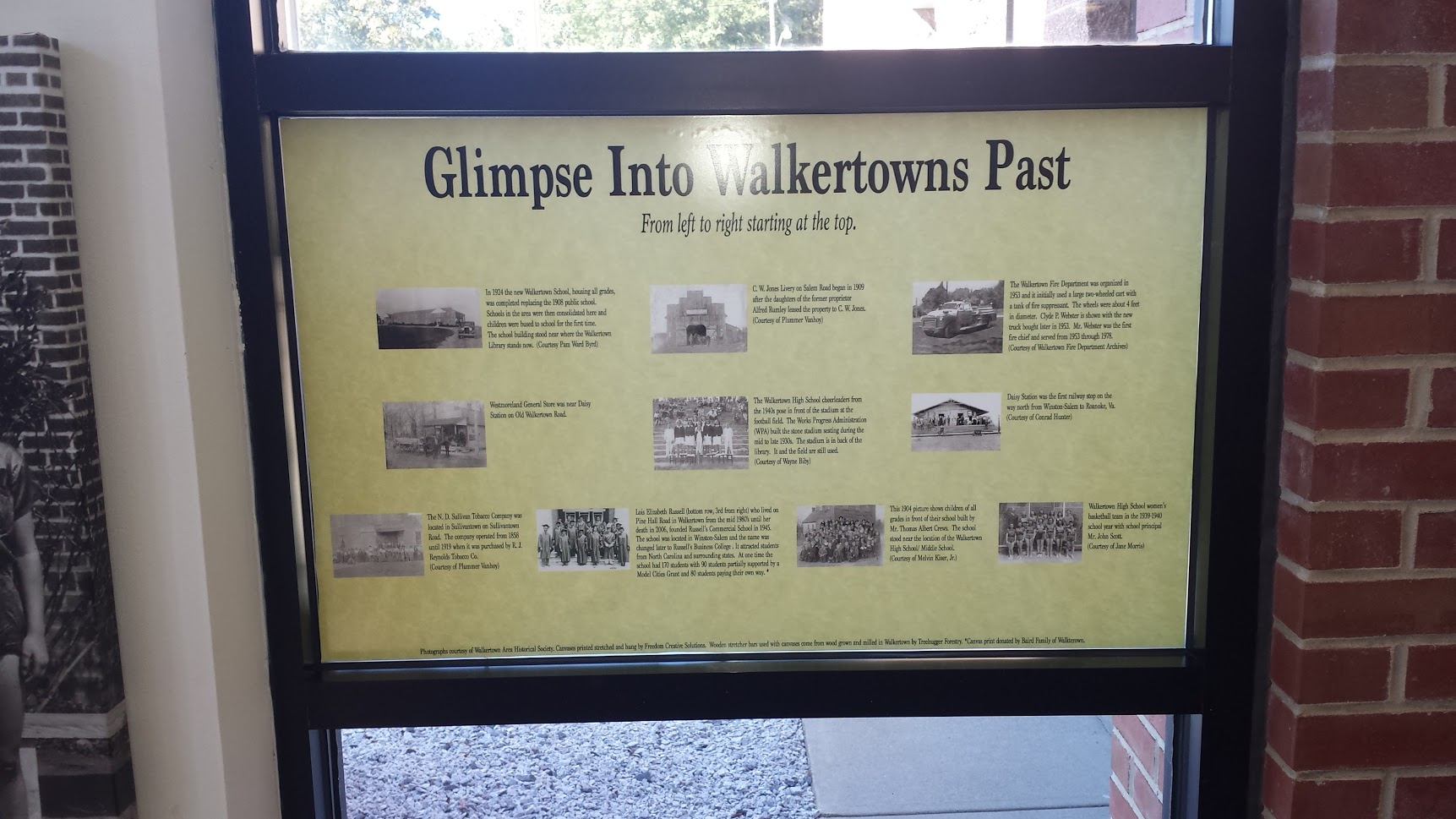 glimpse into walkertowns past board display