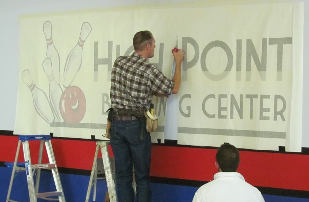high point bowling center wall vinyl graphics
