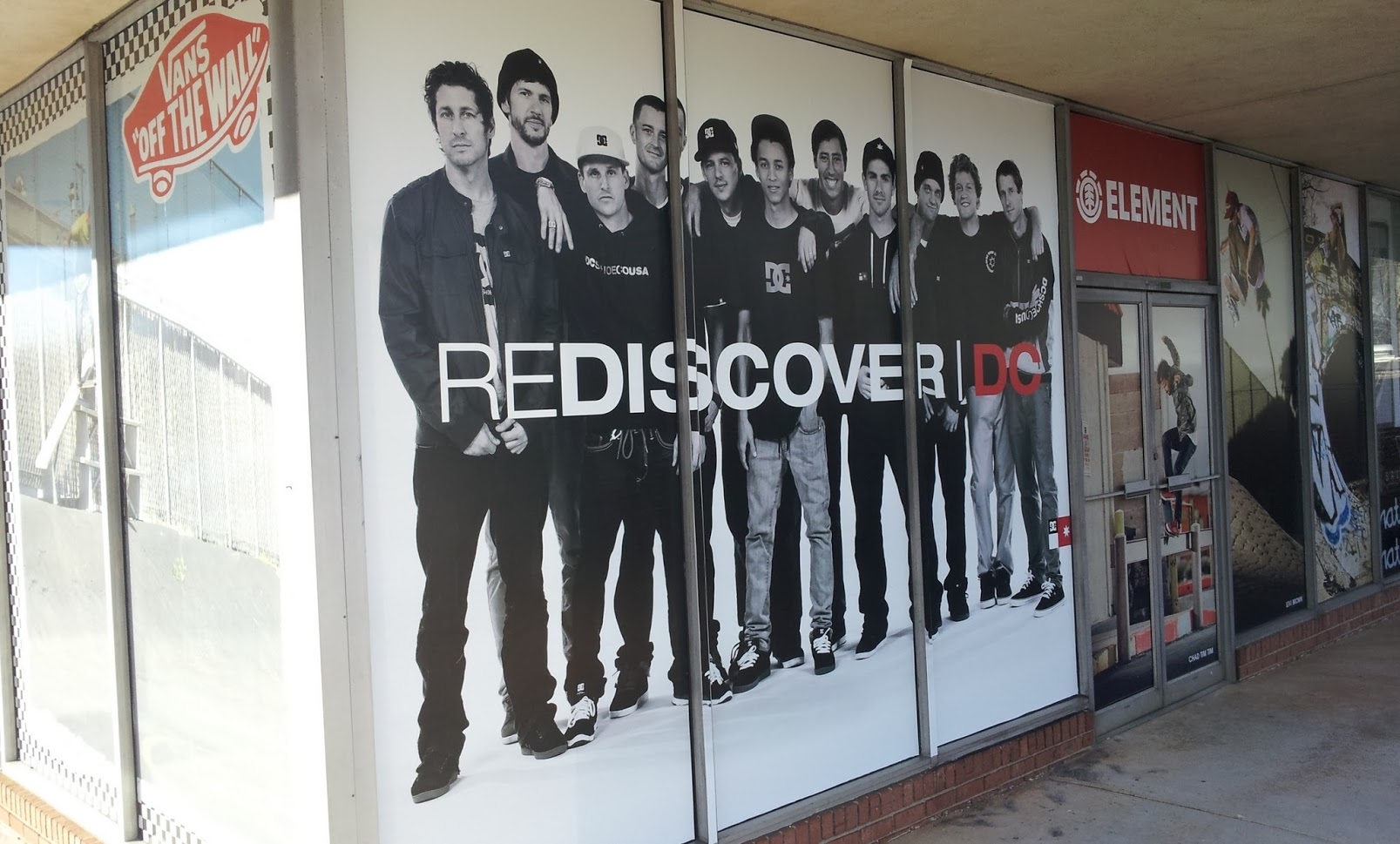 rediscover dc-element storefront graphics wrap vinyl display