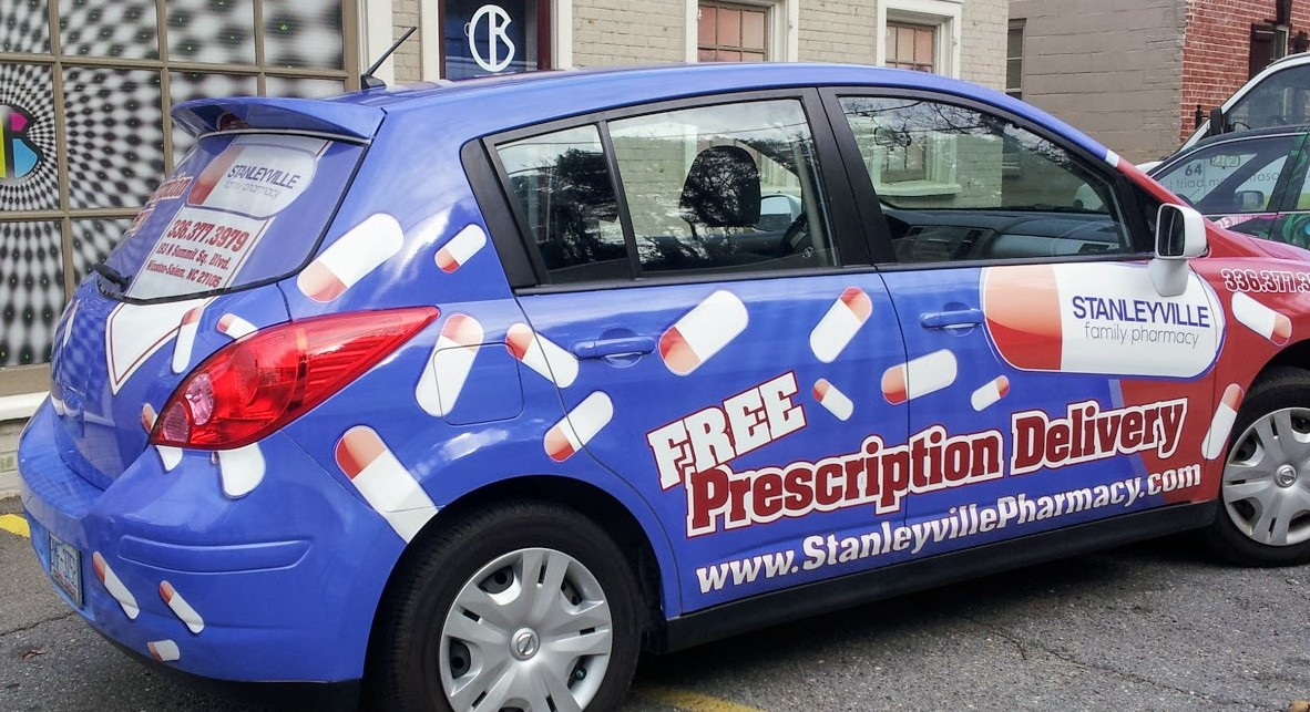stanleyville_pharmacy_prescription_delivery_left_side_passenger_vehicle_wrap