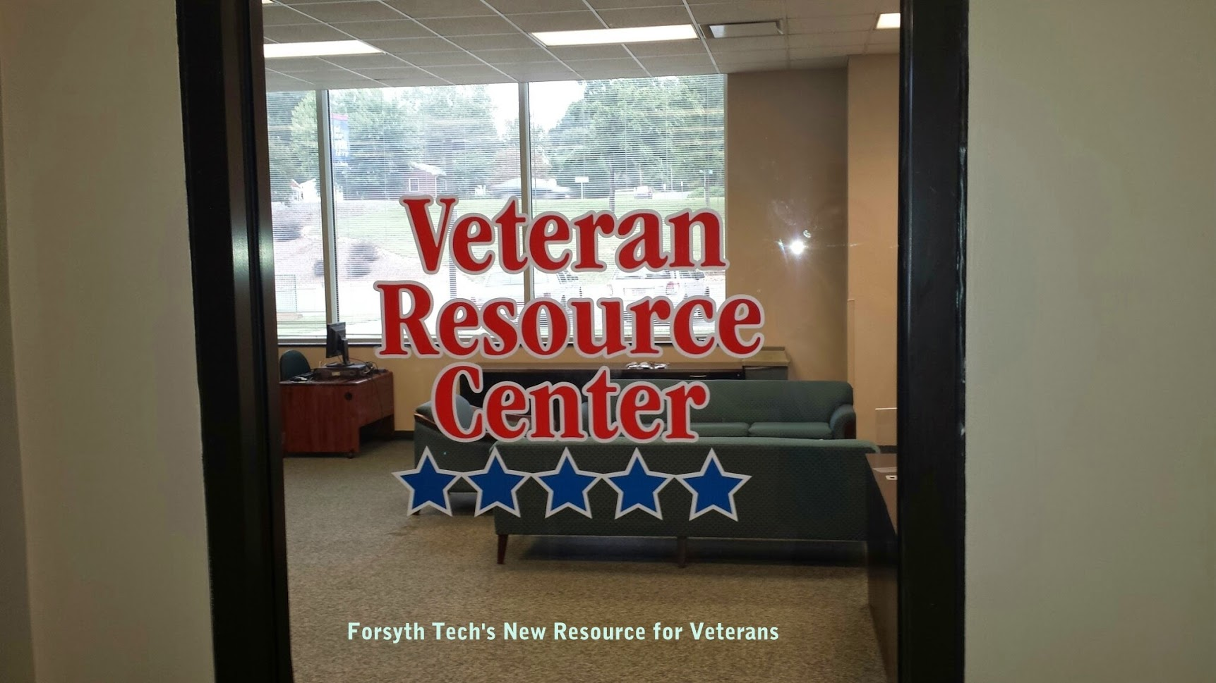 veteran resource center window door graphic display