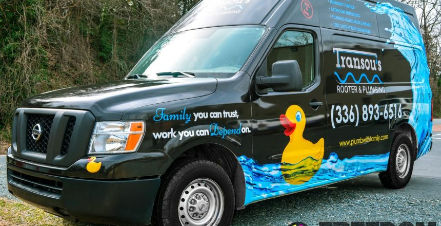 transous rooter and plumbing vehicle wrap by freedom creative solutions